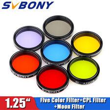 "7PCS  SVBONY 1.25"" Moon Filter+CPL Filter+5 Color Filter Kit for telescope New"