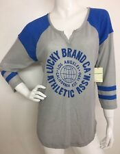 Lucky Brand New Women's Blue Athletic Assn. 3/4 Sleeve Top Blouse Tee XL NWT