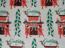 Vtg Christmas Wrapping Paper Gift Wrap Chilren In Pj's Fireplace Stockings