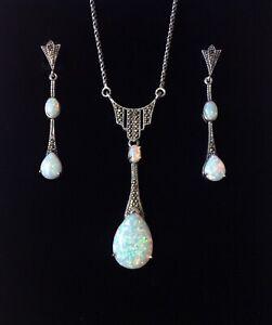 Sterling Silver Art Deco Fire Opal Marcasite Peardrop Necklace & Earrings set