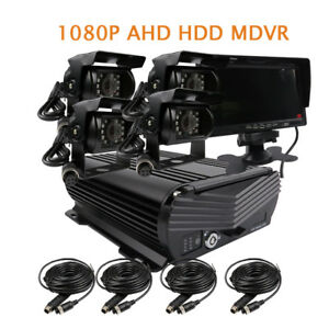 DIY 4CH 1080P 2.0MP 2TB HDD Hard Disk Car DVR MDVR Video Recorder monitor Camera