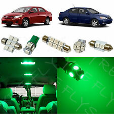6x Green LED lights interior package kit for 2003-2013 Toyota Corolla TC1G