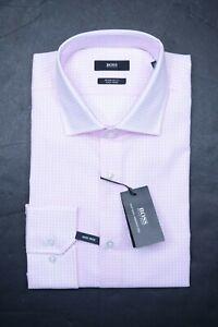 Hugo Boss Men's Gordon Easy Iron Regular Fit LT Pink Plaids Dress Shirt 39 15.5
