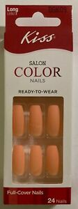 Kiss Nails Glue On Matte Orange Sherbert Long Coffin Ballerina Peach Cool Girl