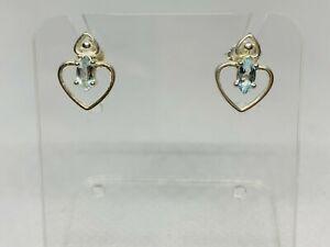 Gorgeous Sparkling Aqua Blue Topaz Heart Stud Earrings 925 Solid Silver #10588