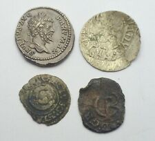LOT OF 4 MEDIEVAL & ANCIENT SILVER COINS EUROPE ROME SWEDEN