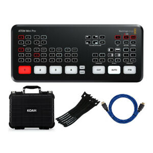 Blackmagic Design ATEM Mini Pro HDMI Live Stream Switcher Cable and Case Bundle