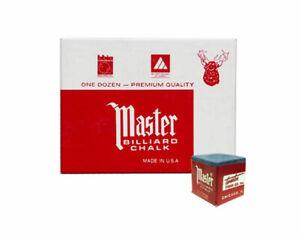 Master Billiard/Pool Cue Chalk - Sky Blue - 1 Pack/12 Pieces