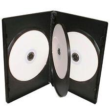 25 x CD DVD 14mm NEGRO DVD 4 Vías Funda para 4 DISCOS - Paquete de 25