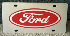 Ford oval vanity license plate tag stainless steel RED emblem