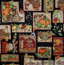 BonEful Fabric FQ Cotton Quilt Thanksgiving Farm Fruit Turkey Patchwork Pumpkin
