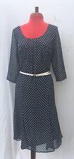 STEILMANN gris foncé et blanc Polka Dot pois manches 3/4 Belted Dress UK 10 très bon état