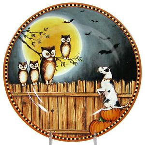 """Sakura PUMPKIN HOLLOW - DOG OWL 8.25"""" Dessert Plate David Carter Brown Halloween"""