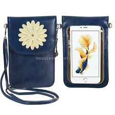 """7""""Blue Flower Cell Phone pouch cross-body shoulder bag For Apple iPhone 7 Plus"""