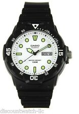 Casio MRW200H-7E Mens 100M Black Diver Classic Sports Watch Resin White Dial NEW