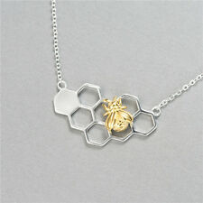 925 Sterling Silver Cute Golden Honey Bee Honeycomb Pendant Chain Necklace Gift