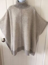 John Lewis Roll Neck Cashmere Poncho, Grey/Ivory, One Size. RRP £120