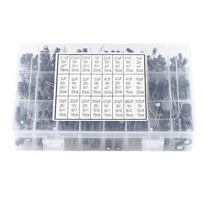 24 Values Aluminum Electrolytic Capacitor Assorted Kit 10V~50V 0.1-1000uF 500pcs