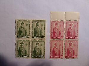 Iceland 1950 set MNH blocks of 4 Bishop Arason