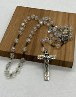 """Vintage Sterling AB Crystal Rosary Signed ROMA , Sterling 16"""" Long"""