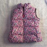 Lands End girls floral down Pink Puffer Vest size L 6x Great condition