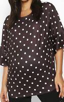 Boohoo Maternity Pregnancy Top Blouse Polka Dot Black Frill Short Sleeve T-Shirt