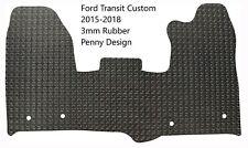 Ford Transit Custom 2016-2018 Black Tailored 3mm Rubber Van Floor Front Mat