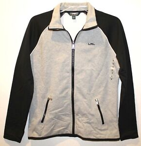 Ralph Lauren Womens Gray Black Full-Zip Athletic Track Jacket NWT $115 Size M
