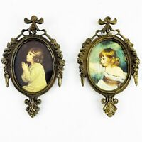 "Vintage Pair Ornate Brass Oval Picture Frames 6"" Children Photo Italy Florentine"