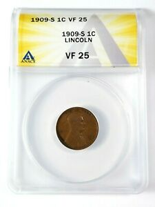 Nice Circulated Semi-Key 1909-S Lincoln Cent Graded by ANACS as VF-25