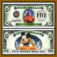 "Disney $5 Dollars, 2014 ""A"" Series 5 Digit Serial Thunder Mountain Railroad Unc"