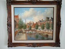 Dennis Lewan, Listed. Original Oil Painting on Board. Amsterdam Canal, 1990. Exc
