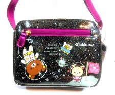 San-X Rilakkuma Bear Glitter Shoulder Cross-body Messenger Pouch Black Purse Bag