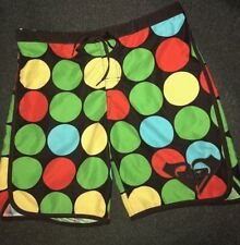 ROXY Juniors Sz 3 Brown Green Turquoise Yellow, Board Shorts Large Polka Dot