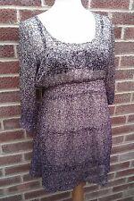 Purple Flower Print Shear Dress - Round Neck Elbow Length Sleeves - Size 14 NEW