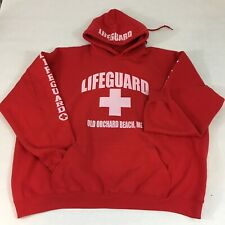 Lifeguard Hoodie Hooded Sweatshirt 2XL Old Orchard Beach Maine Red