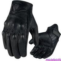 Mens Summer Leather Motorcycle Motorbike Gloves Perforated Black Biker M-XL FT