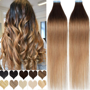 """CLEARANCE Tape In On Russian Remy Human Hair Extensions Skin Weft 150G THICK 18"""""""