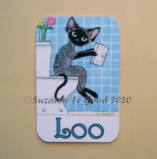 Devon Rex Cat art painting Loo toilet door laminated sign by Suzanne Le Good