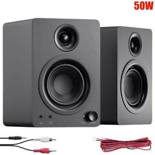 Pair 50W Computer Speakers Active Powered Wired 3.5mm AUX RCA Desktop PC Laptop