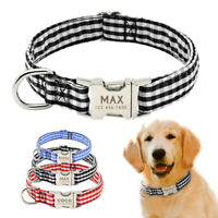 Personalised Dog Collar Small Large Pet Custom Name ID Collar Tag Red Blue Black