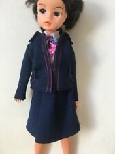 Doll clothes navy blue flight cabin crew outfit set fit Sindy Barbie SHIMMYSHIM
