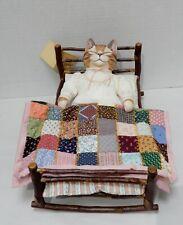 "Vintage TYBER KATZ ""Vintage Sleepers"" Wood Cat with Wooden Bed 15/50"