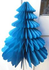 Honeycomb Paper Christmas Decorations - 2 x Christmas Trees - Sky Blue