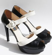 PRADA Peep Toe Black & White Leather Mary Jane Ankle Strap Platform 10 Bicolor