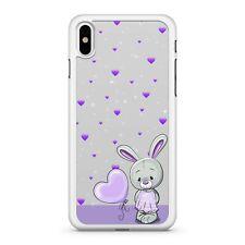 Adorable Cute Bunny Rabbit Pretty Purple Love Hearts Pattern Phone Case Cover
