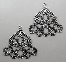 #0161 LARGE ANTIQUED SS/P OPEN FILIGREE W/TOP HANG RING - 2 Pc Lot