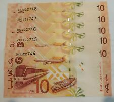 MALAYSIA RM10 ZETI Replacement ZD, 5 Pieces, UNC