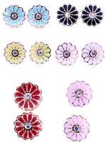 Pretty 0.9cm enamel daisy flower stud earrings, 50s 60s retro, multiple choices