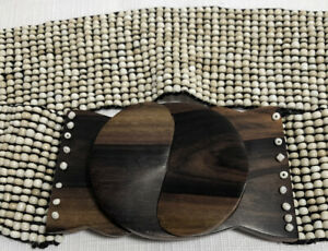 "Wide Stretchy Belt Beaded Wooden Interlocking Buckle Cream Tan 28"" Unstretched"